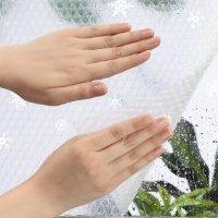 窓ガラス断熱シート ホワイトスノー柄 90×180cm E1608